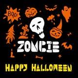 Halloween Lino cut Vector Royalty Free Stock Photos