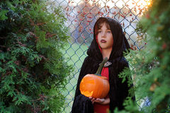 Halloween. Little boy portrays the evil wizard. Stock Photography