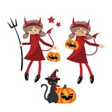 Halloween little devils girl collection royalty free illustration
