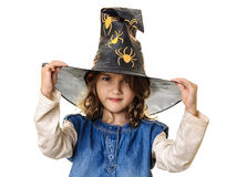 Halloween little girl evil eyes Royalty Free Stock Photography
