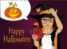 Halloween. A little girl in a hat and a witch costume pensively. And holds a present. A child who thinks to give a gift for a holiday. Vector illustration. Pop Royalty Free Stock Image