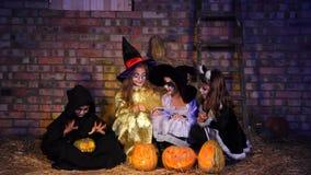 Halloween Little Monster Doing Magic With Pumpkin stock video