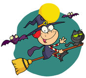 Halloween little witch. Happy halloween witch and cat flying through bats on a broom stick Stock Photos