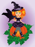 Halloween little witch and bat Royalty Free Stock Image