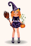 Halloween little witch with pumpkin and broom Stock Images