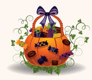Halloween little witch with pumpkin and broom Stock Image