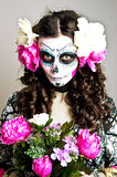 Halloween Living Dead Woman With Skull Stock Photos