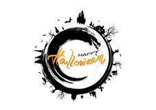 Halloween, logo globe design, grunge brush fantasy vintage, poster banner vector, holiday calligraphy letter, bats, cat, witch, vector illustration