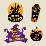 Halloween Logo With Haunted House, Pumpkin and Coffin royalty free illustration