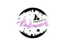 Halloween, logo, plakatowy sztandaru wektor, wakacyjny kaligrafia list, nietoperze, kot, czarownica, żywy trup, cmentarz i banie, ilustracja wektor