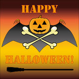 Halloween logo with pumpkin, bat, bones and headin Stock Images