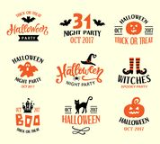 Halloween Logo Templates, Badges Set. Handwritten Ink Lettering and Hand Drawn Cartoon Doodles. Design Elements for Posters, Party Invitations, Stickers, Gift Stock Photo