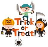 Halloween-Logoentwurf und nette Karikaturkinder vektor abbildung