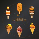 Halloween Lollipop candy. Halloween Ice Cream and Lollipops with Popping Candy poster. Sweet Halloween - text vector illustration pattern. Sweet holiday candy Royalty Free Stock Photography