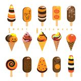 Halloween Lollipop candy set. Halloween Ice Cream and Lollipops with Popping Candy poster. Sweet Halloween - text vector illustration pattern. Sweet holiday Stock Image