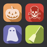 Halloween long shadow icon. Halloween flat design, long shadow vector icons collection (set Stock Photography