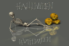 Halloween lounge. Relaxed skeleton waiting for the party - 3d illustration Royalty Free Stock Images