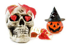 Halloween love with scary skull. And sparkling red hearts. Isolated on white background Royalty Free Stock Images