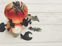halloween Lyckligt halloween begrepp pumpa med häxaspökeslagträet Royaltyfri Bild