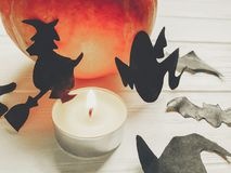 halloween Lyckligt halloween begrepp pumpa med häxaspökeslagträet Arkivfoton