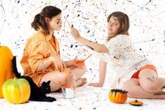 halloween målarfärg kriger Arkivfoton