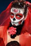 Halloween maakt omhoog suikerschedel Stock Foto