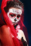 Halloween maakt omhoog suikerschedel Royalty-vrije Stock Foto's