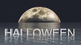 Halloween-maan en overzeese 3D illustratie Royalty-vrije Stock Afbeeldingen
