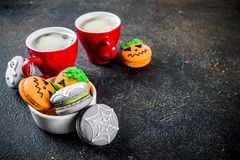 Halloween macaron cookies royalty free stock photography