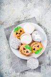 Halloween macaron cookies stock images