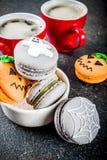 Halloween macaron cookies stock photos
