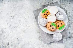 Halloween macaron cookies stock photo