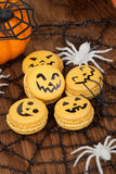 Halloween Macaroons. Closeup of Halloween decor with French pumpkin macaroons and assorted pumpkins Royalty Free Stock Photos