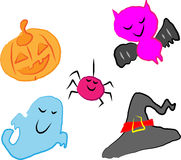 Halloween made by children. A set of Halloween icons made by children Stock Photo