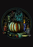 Halloween magic emblem with a pentagram and a pumpkin Royalty Free Stock Photography