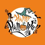 Halloween. Magic fairy-tale lettering. All saints ` day card. Cartoon pumpkin monster. Witch hat. Black cat monster. On the back royalty free illustration