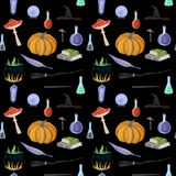 Magic pattern with pumpkin, books vector illustration