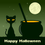 Halloween with Magic Pot and Black Cat Stock Images