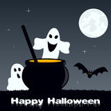 Halloween Magic Pot and Funny Ghosts Royalty Free Stock Photo