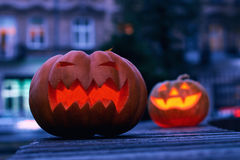 Halloween magic pumpkins at night Stock Photos