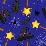 Halloween Magic Wand Witch Hat Pattern Stock Photography