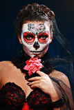 Halloween make up sugar skull. Beautiful model with perfect hairstyle. Santa Muerte concept stock photography