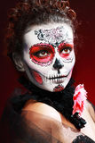 Halloween make up sugar skull Royalty Free Stock Images
