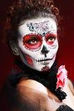 Halloween make up sugar skull Royalty Free Stock Images