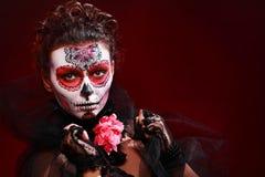 Halloween make up sugar skull Stock Image