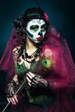 Halloween make up sugar skull Stock Photos