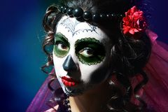 Halloween make up sugar skull royalty free stock photography