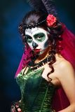 Halloween make up sugar skull stock photography