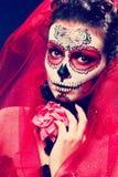 Halloween make up sugar skull Stock Photo