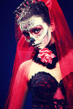 Halloween make up sugar skull Stock Images